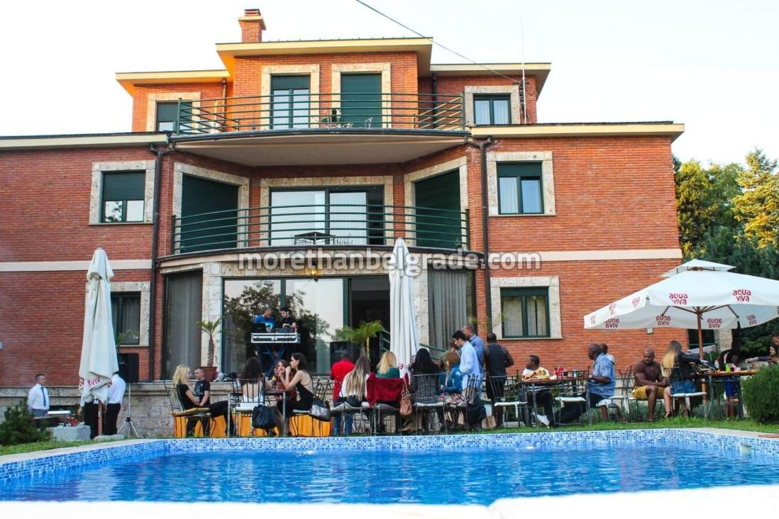 Bachelor party in Belgrade by the pool guys with a local girls