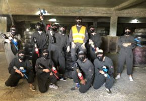 Stag team at Paintball game