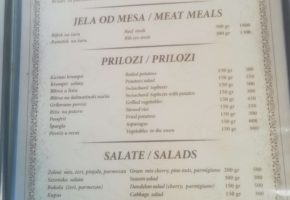 Restaurant – Bevanda - Pricelist