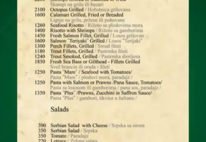 Restaurant – Franš - Pricelist