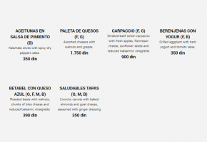 Restaurant – Cantina De Frida - Pricelist