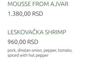 Restaurant – Madera - Pricelist