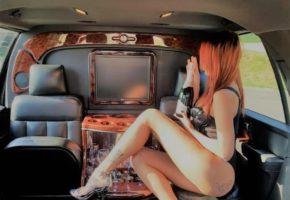 Stripper girl in limo