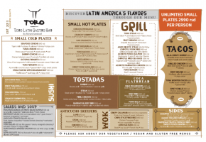 Restaurant – TORO Latin Gastro Bar - Pricelist