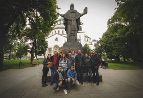 Tour group in front of the Saint Sava temple