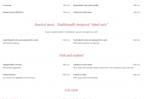 Restaurant – Tri Sesira - Pricelist
