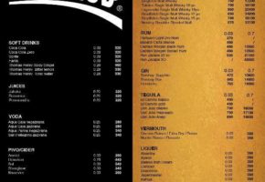 Brankow Night Club - Pricelist